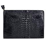 Orfila Oversized Leather Clutch Bag Vintage Crocodile Pattern Envelope Wedding Party Handbag Purse,Black