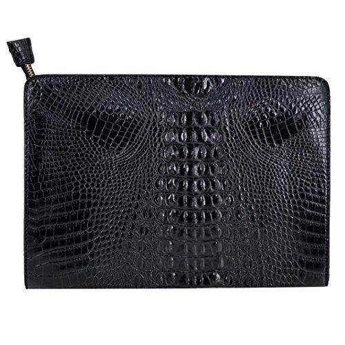 Orfila Oversized Leather Clutch Bag Vintage Crocodile Pattern Envelope Wedding Party Handbag (Oversized Vintage Clutch)