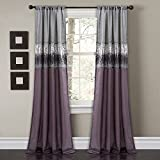 """Lush Decor Night Sky Curtain Panel for Living, Dining Bedroom (Single), 84"""" x 42"""", Purple and Gray"""