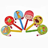 Gbell Wooden Pellet Drum Rattle, Kids Toy Cartoon Musical Instrument Toy,Educational Toys Gift (Random)