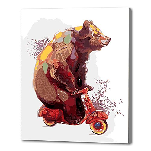 Aviya Art Diy Oil Painting, paint By Number Kits-A bear on a scooter 16×20 inches