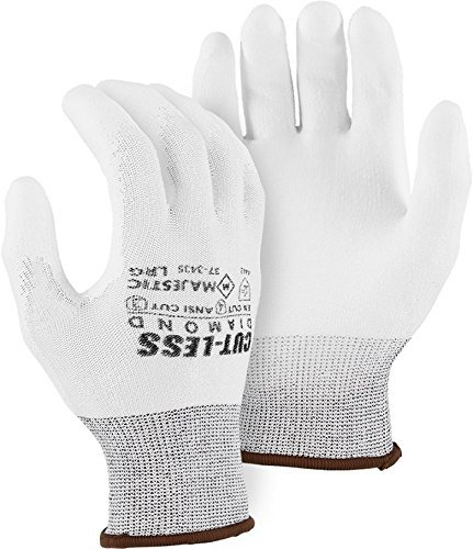 Majestic 37-3435 Cut Resistant White Diamond Dyneema Poly Coated Gloves (12 Pair) Size Large, Formerly Majestic 3435