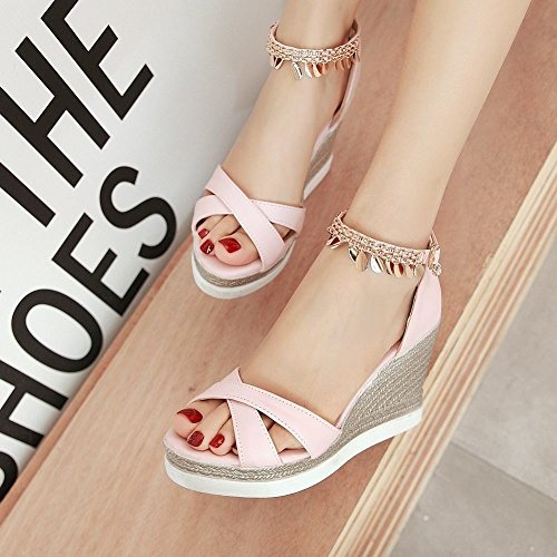 Pink Sandals Metal Elegant Wedges Ornament Womens Charm Foot Platform Heeled q7wzRR
