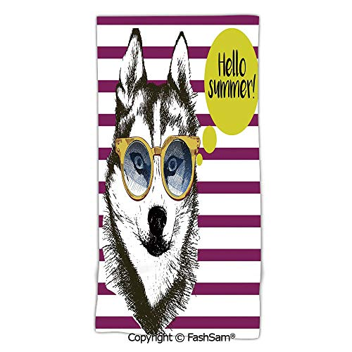 Microfiber Bath Beach Towel Purple Stripes with Husky Sketch Yellow Hipster Glasses Hello Summer Quote Decorative washcloths for Men Women(w31xL63)