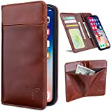 iPhone X Case, iPhone X Wallet Cases with Magnetic Detachable Case,3 Card Holder Slots,3 Bill Pockets, Premium Genuine Leather Handmade Flip Case for iPhone X - Dark Brown
