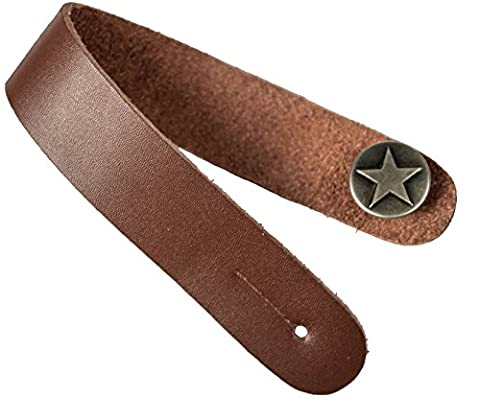 Acoustic Guitar Strap Button - Assorted Colors (Brown with Silver Button) - by Cavalry Straps (Copper Color Guitar Strap)