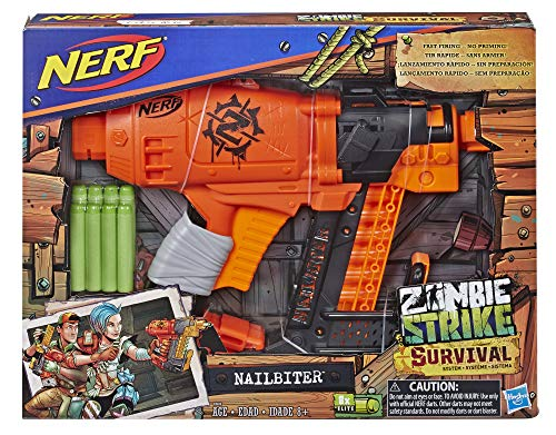 51E93eGY lL - Nerf Nailbiter Zombie Strike Toy Blaster – 8 Official Zombie Strike Elite Darts, 8-Dart Indexing Clip – Survival System – for Kids, Teens, Adults