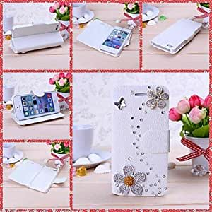Mini - DIY Sunflowers with Rhinestone Pattern Full Body Leather Case with Stand for iPhone 5/5S