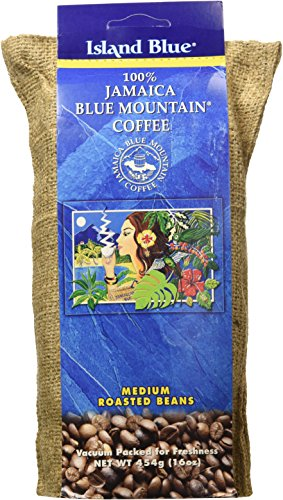 Island Blue 100% Jamaica Blue Mountain Whole Beans Coffee (16oz)