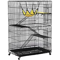 Yaheetech 4-Tier Rolling Cat Cage Large Metal Pet Playpen with 3 Ramp Ladders&2 Doors, Black