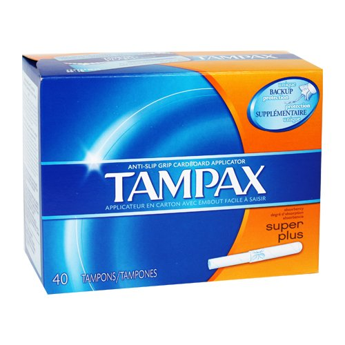 Tampax Cardboard Tampons (Tampax Super Plus Tampons with Flushable Cardboard Applicator-40 ct)