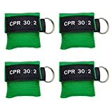 Elysaid 20 pcs Cpr Mask with Keychain Cpr Face Shield Aed Green Pouch Writing Cpr 30:2