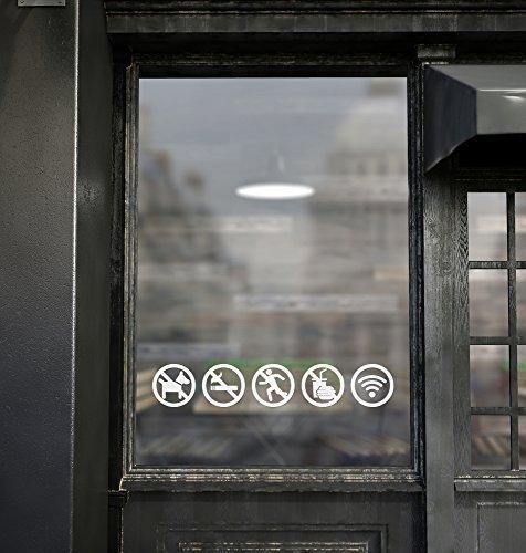 Warning Decal Set - Vinyl decal warning sign sticker, set of 5, no smoking, no pets allowed, no foods allowed, no drinks allowed, no running, free WIFI internet (White)