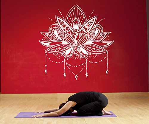 Amazon.com: Yoga Wall Decal Namaste Decals Lotus Flower Wall ...
