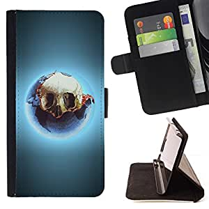 DEVIL CASE - FOR Samsung ALPHA G850 - Cool Skull Glow - Style PU Leather Case Wallet Flip Stand Flap Closure Cover