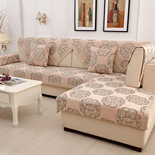 Wayward Anti-Slip Sofa slipcovers,Stripe Chenille Sofa Covers,Furniture Protector European Dust-Proof Couch Covers Luxury Sofa Cushioning Stain-Resistant Dust Cover-G 90x90cm(35x35inch)