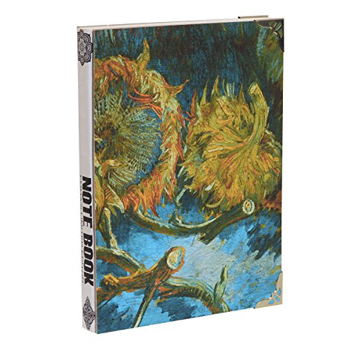 Emmas Art Supply VAN GOGH Hand Made Blank Journal Luxury Hardcover Sketch Book, 128 Sheets (10.2 x 7.5 x 1.1, Four Cut Sunflowers