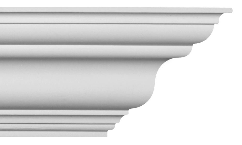 Crown Molding - Plastic Crown Moulding Manufactured with a Dense Architectural Polyurethane Compound. CM-1001 - 6 Moldings.