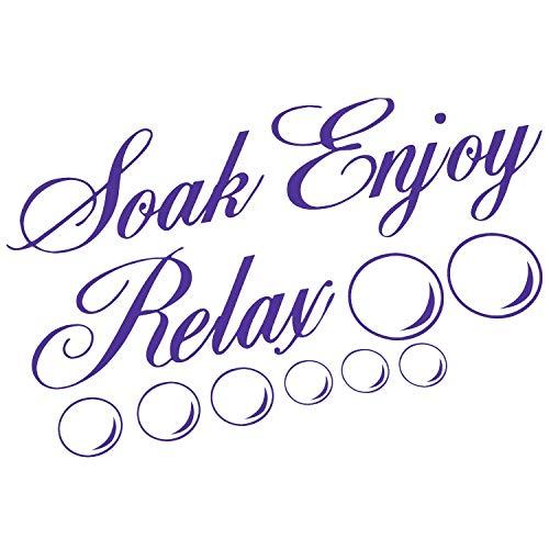 SODIAL(R) SOAK RELAX ENJOY Bathroom Wall Art Sticker PVC Decal Home Art Decoration: purple