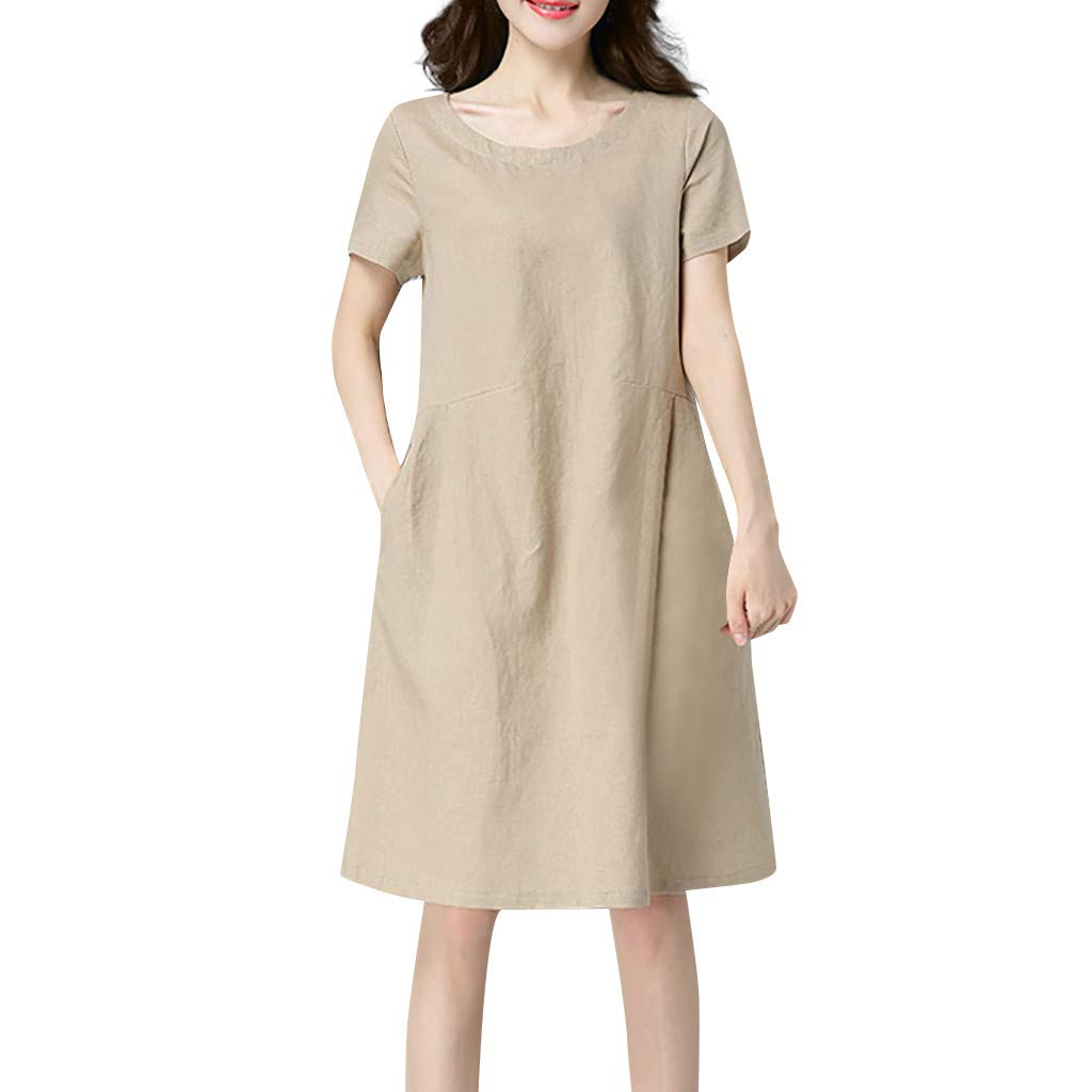 Nuewofally Women Cotton Linen Dress Casual Short Sleeve Sundress Fashion Midi Dress Baggy Wedding Party Club Dress (Khaki,XL)