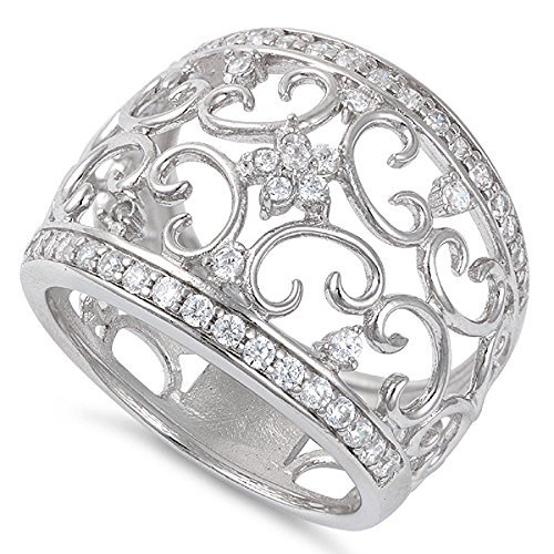Sterling Silver Filigree Flower - Sterling Silver Filigree Flower Cz Ring - 16mm - Size 6