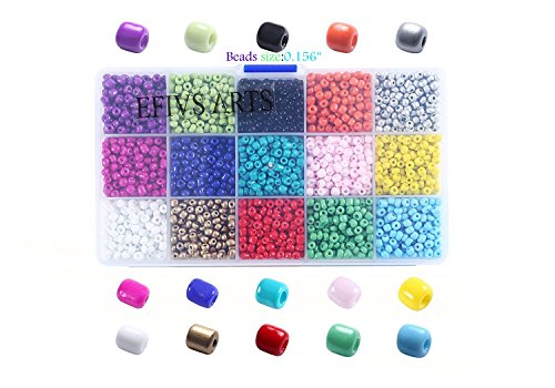 (Efivs Arts 2500pcs Multicolor 4mm Pony Seed Beads for DIY Bracelets,Necklaces, Key Chains and Kid Jewelry Bead Box Kit,J002)