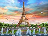 YEESAM ART New Paint by Numbers for Adults Children - France Paris Eiffel Tower Rainbow Balloon Fountain 16 * 20 inches Linen Canvas - DIY Digital Painting by Numbers Kits on Canvas (Without Frame)