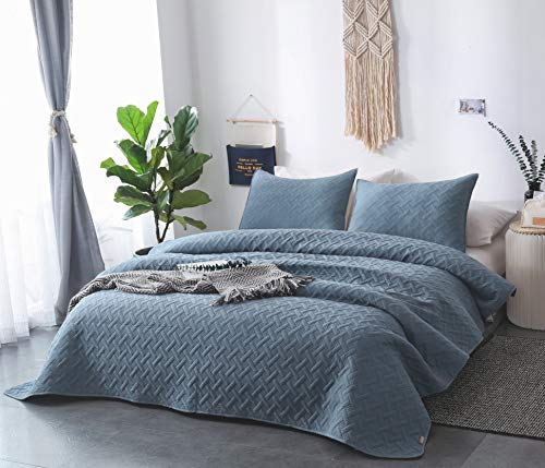 DAWNDIOR Super Soft Quilt-Bedding-Coverlet-Sets,King Queen Twin Size With 2 Shams And 1 Lightweight Comforter mini set with Solid Color