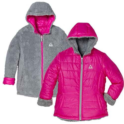 (Gerry Girl's Hooded Reversible To Berber Down Winter Coat Jacket (S-7/8, Camellia (Hot Pink)))