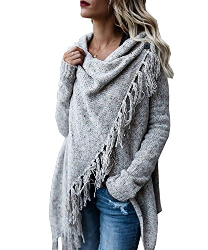 Dellytop Women's Tassel Hem Cowl Neck One Button Wrap Cardigan Long Sleeve Sweater