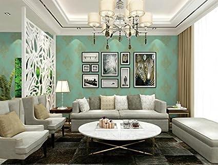 Eurotex Damask Design Square Vinyl Coated Wallpaper (50.01 cm x 10 cm x 10 cm, Aquamarine)
