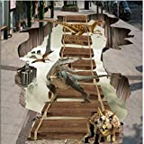 Mznm 3D Three-Dimensional Paste in The Air Floating Ladder Dinosaur 3D Floor Tiles PVC Thick Wear-Resistant Waterproof-120X100Cm
