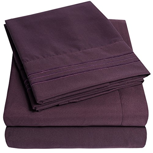1500 Supreme Collection Extra Soft King Sheets Set, Purple - Luxury Bed Sheets Set With Deep Pocket Wrinkle Free Hypoallergenic Bedding, Over 40 Colors, King Size, Purple