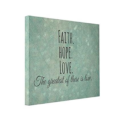 Wall Art Inspirational Faith Hope Love Bible Verse 10x8 Canvas Print