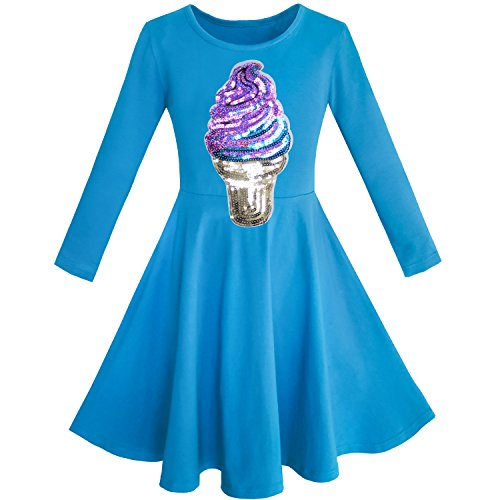 KD33 Girls Dress Owl Ice Cream Butterfly Sequin Everyday Dress Size 10
