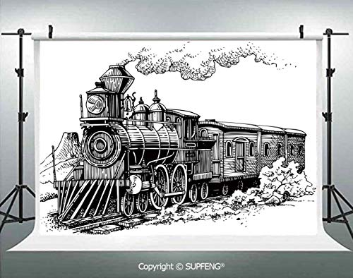 Photo Backdrop Rustic Old Train in Country Locomotive Wooden Wagons Rail Road with Smoke 3D Backdrops for Interior Decoration Photo Studio Props]()