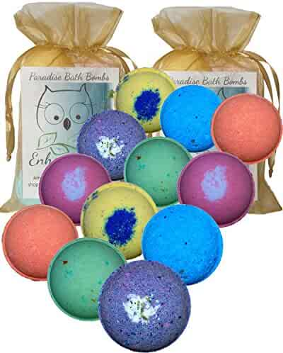 Bath Bombs Double Gift Set, 12 Wholesale Vegan from Enhance Me- Handmade with Organic Coconut Oil,