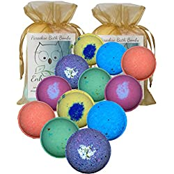 "Bath Bombs Double Gift Set, 12 Wholesale Vegan, Handmade in USA with Organic Coconut Oil, Cruelty Free, PABA Free, from Enhance Me ""See, Smell and See The Difference"""