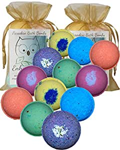"""Double Gift Set, 12 Wholesale Vegan Bath Bombs from Enhance Me- Handmade with Organic Coconut Oil, """"See, Smell and See The Difference"""""""