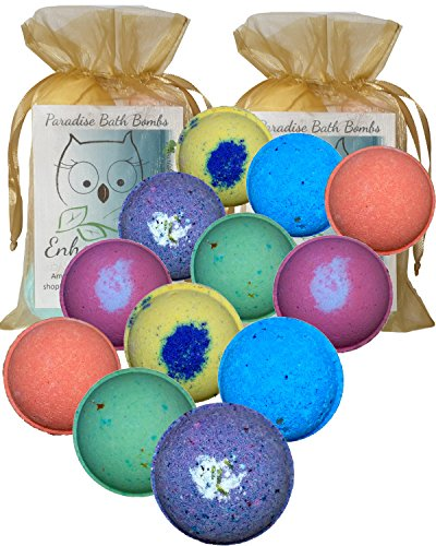 Bath Bombs Double Gift Set, 12 Wholesale Vegan, Handmade in USA with Organic Coconut Oil, Cruelty Free, PABA Free, from Enhance Me