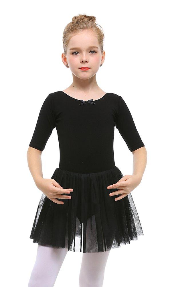 STELLE Toddler/Girls Cute Tutu Dress Leotard for Dance, Gymnastics and Ballet(XXS, Black)