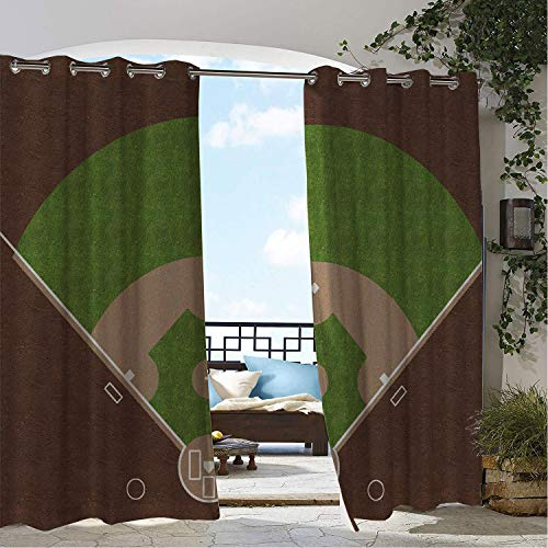 (Balcony Waterproof Curtains Boys Room American Baseball Field White Mar s Painted on Grass Print Lime Green Chocolate Tan pergola Grommet Privacy Curtains 84 by 84 inch)