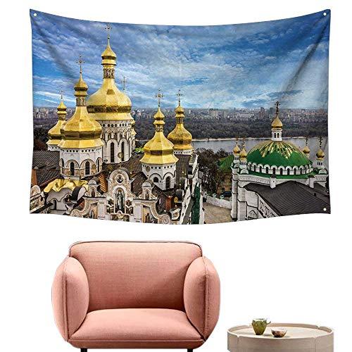 alsohome Bedroom Tapestry Wall Hanging Square Tapestry for Living Room Kiev Ukraine Cupola Pechersk Lavra Monastery River 91
