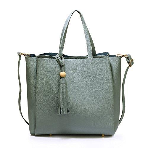 Strap Designer Leather 1 With Shoulder Top Design With Tote Womens Zip and Bag Blue Faux Ladies Adjustable Tassel Handbag 41gpwx7
