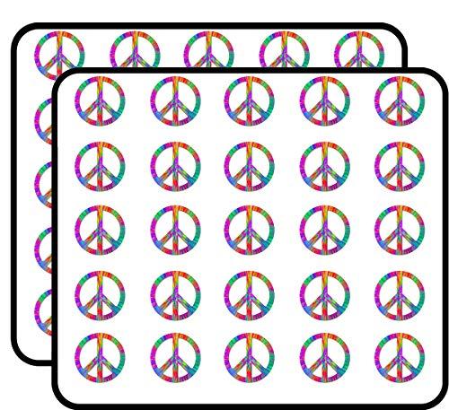 Large Tie Dye Peace Sign Symbol (Dyed die Vinyl) Sticker for Scrapbooking, Calendars, Arts, Kids DIY Crafts, Album, Bullet - Round Peace Symbol Stickers
