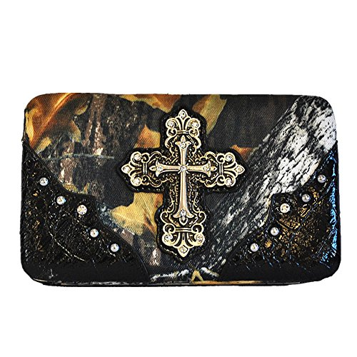 Cross Western Handbag Set Camouflage Colors A10 in 3 Leather Matching Black One Women's Purse Wallet 5105 5HfwHxqr