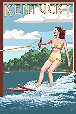 Kentucky - Water Skier and Lake (16x24 Collectible Giclee Gallery Print, Wall Decor Travel Poster)
