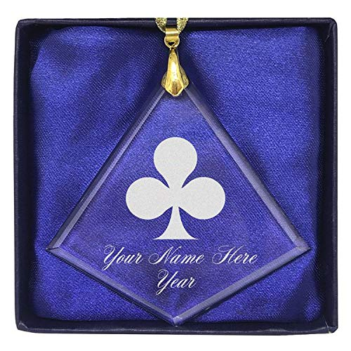 (LaserGram Christmas Ornament, Poker Clubs, Personalized Engraving Included (Diamond Shape) )