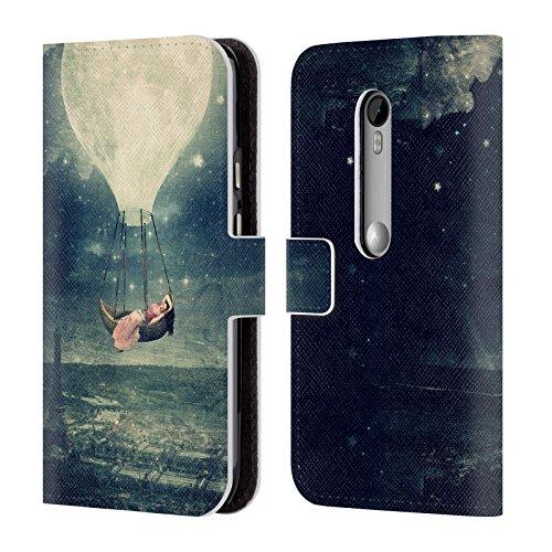 Official Paula Belle Flores Promenade Moon Leather Book Wallet Case Cover For Motorola Moto G (3rd - Third Promenade