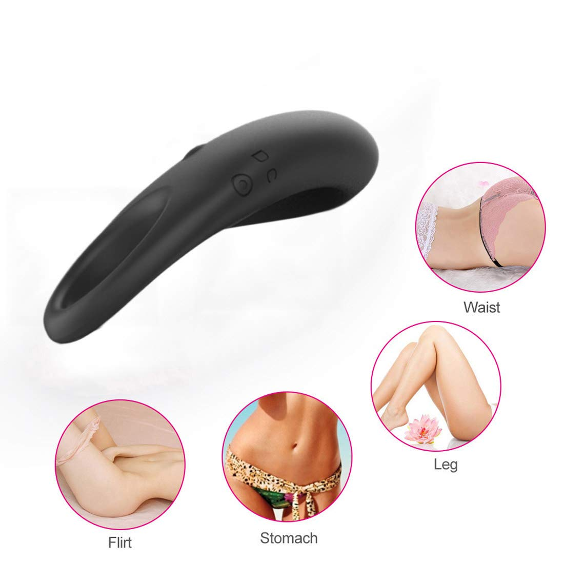 Hi-Ha Full Silicone Electric Toy for Men Women Waterproof USB Charge Black